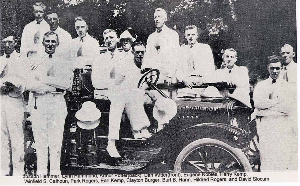Andover Fire Department, date unknown. Pictured are Joseph Hemmer, Lynn Hammond, Arthur Potter (back), Dan Witter (front), Eugene Nobles, Harry Kemp, Winfield S. Calhoun, Park Rogers, Earl Kemp, Clayton Burger, Burt B. Hann, Hildred Rogers, and David Slocum.