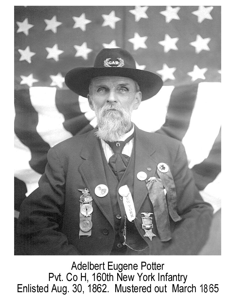 Adelbert E Potter, Civil War veteran from Alfred, N.Y.