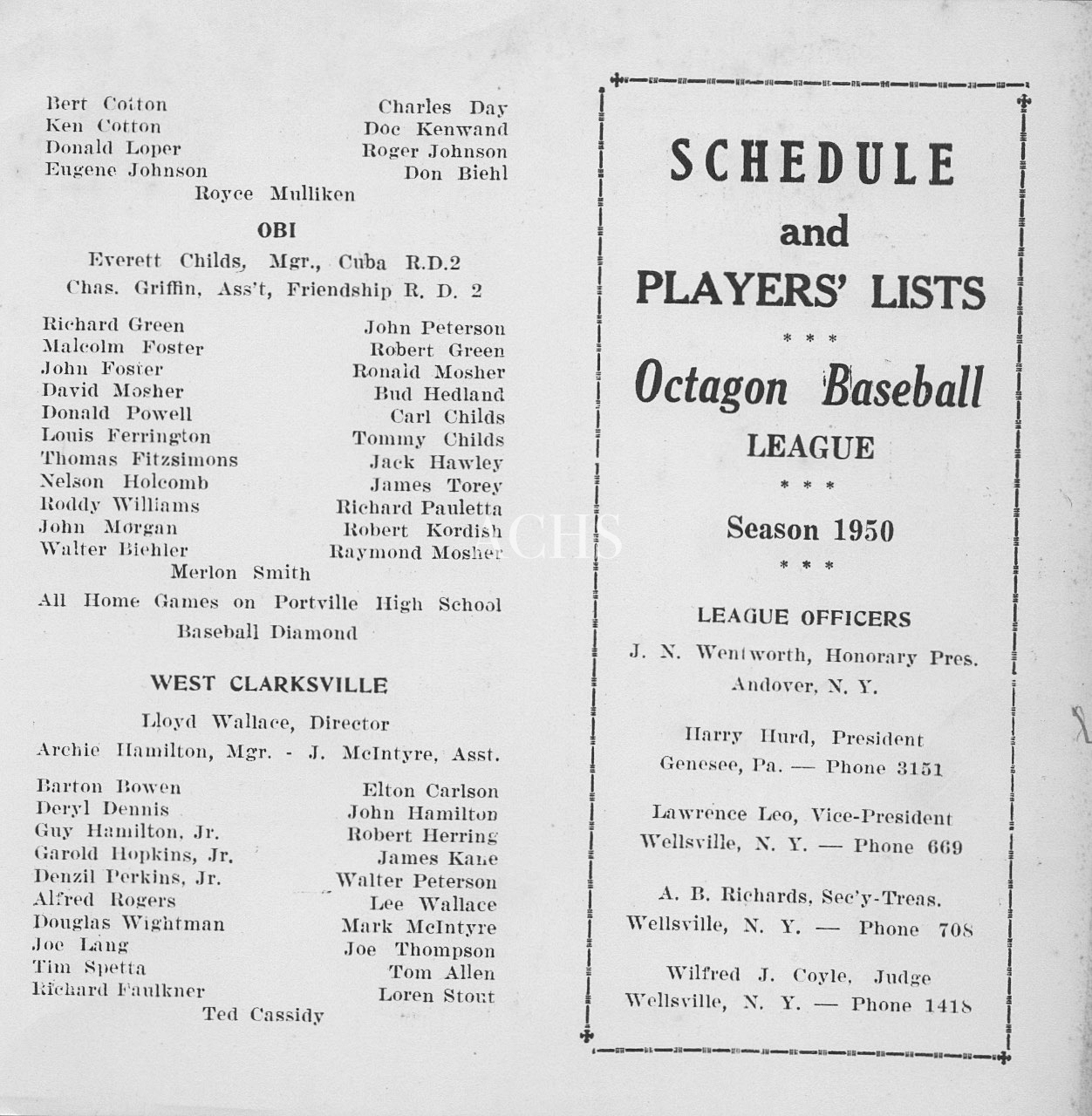 Octagon Baseball League, Allegany County, N.Y. 1950 part 1