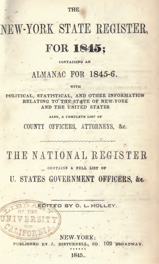 nystate register 1845 title page a