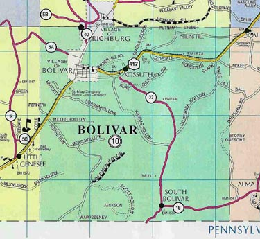 Map of Bolivar, N.Y.